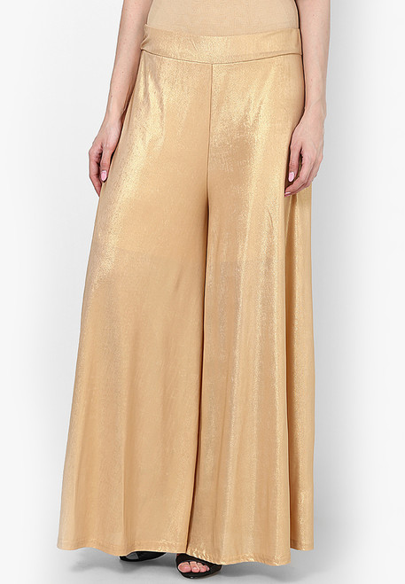 Gold Palazzo Pants Knit Wide Leg