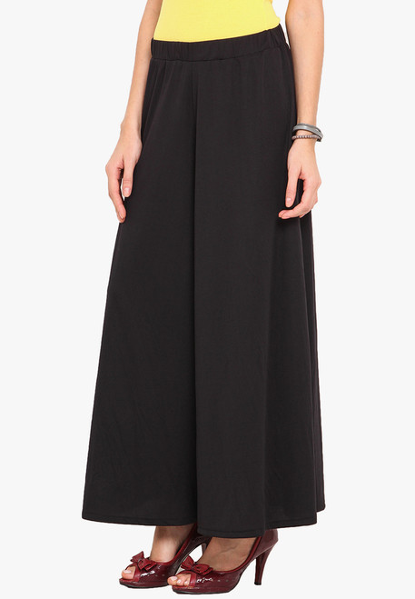 Black Palazzo Pants Wide Leg Pants Knit Stretchable
