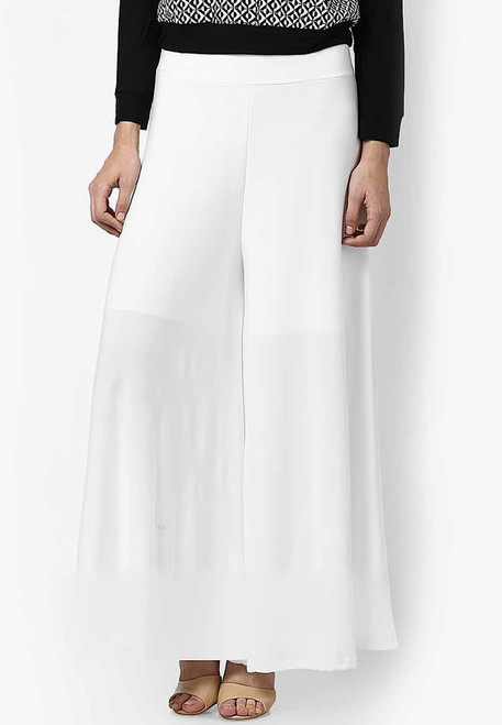White Palazzo Pants Wide Leg High Waisted Knit