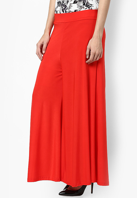 Red Palazzo Pants High Waist Cotton Stretchable