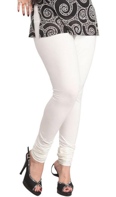 White Leggings Cotton Knit Strechable