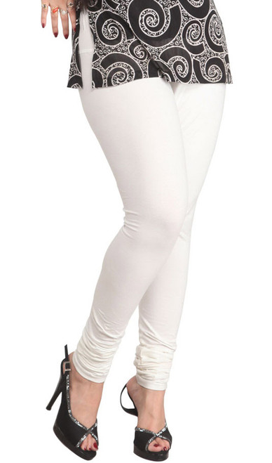 White Leggings Cotton Knit Strechable