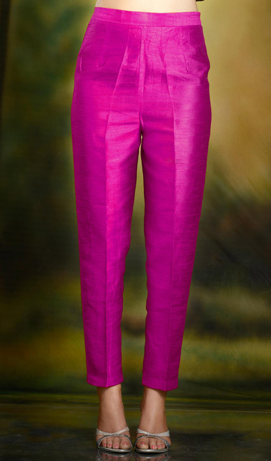 Hot Pink Cigarette Pants Pencil Trousers Silk