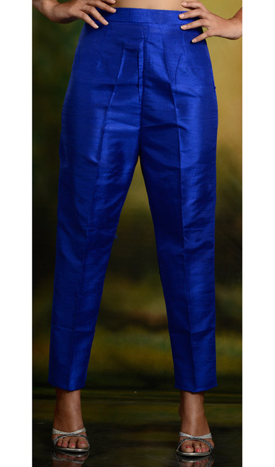 Blue Silk Cigarette Pants