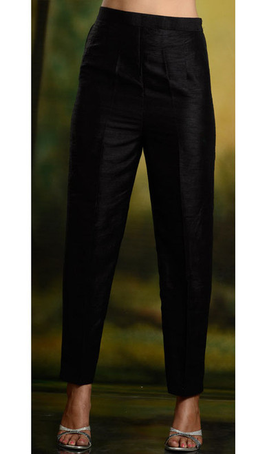 Black Silk Cigarette Trouser Pants