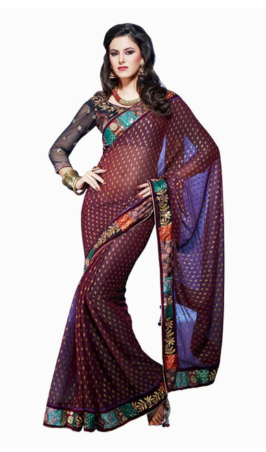 Eggplant Viscose Embroidered Saree