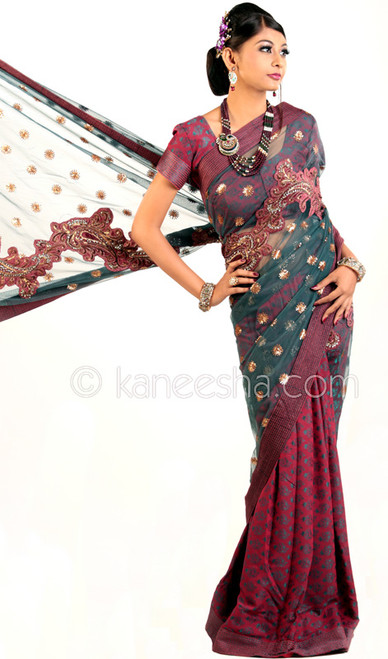 Enticing Magenta Embroidered Sari