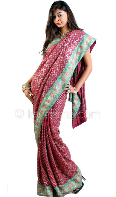 Marvelous Magenta Pink Embroidered Sari