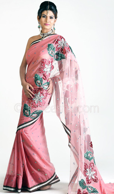 Plushy Peach Pink Georgette & Net Embroidered Sari