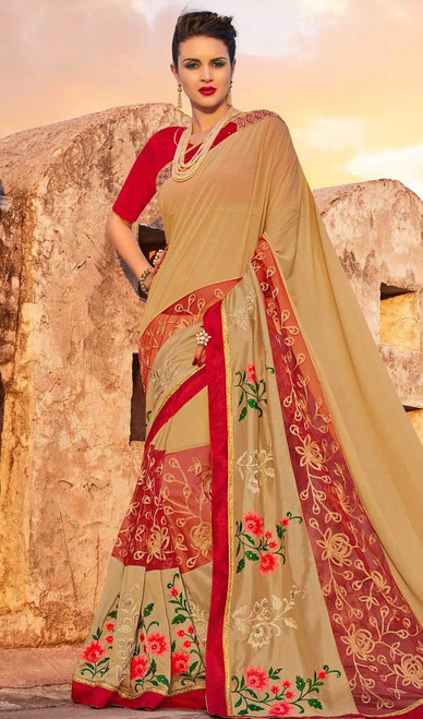 Embroidered Beige Color Georgette Sari