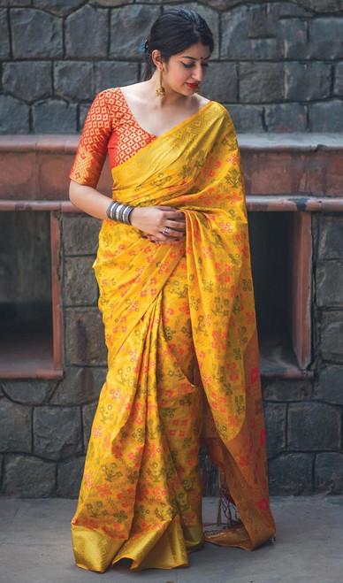 Yellow Color Shaded Patola Silk Sari