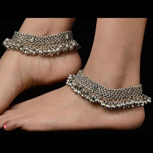 Silver Indian Traditional Plated Anklets
