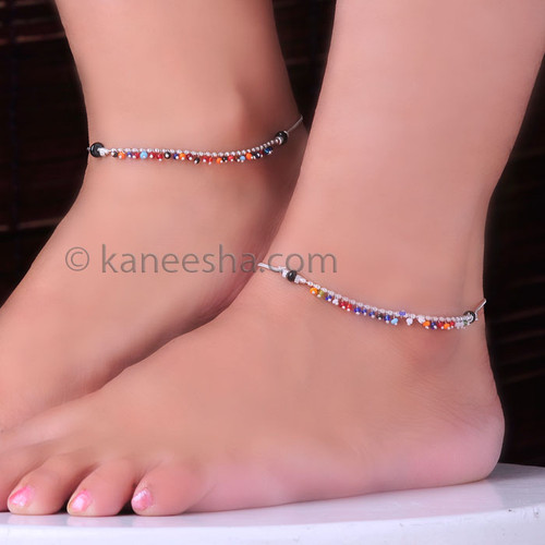 Sterling Silver Anklets with Multicolored Beads