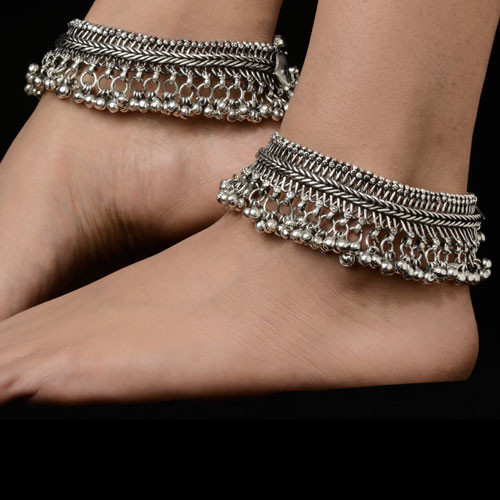 Indian Traditional Silver Anklets for Girls