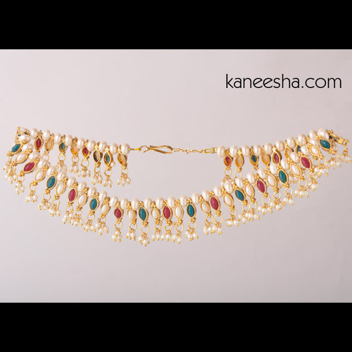 Gold Plated Faux Pearl Anklets with Red and Green Beads