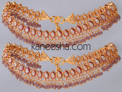 Purple Gold Plated Enameled Polki Anklets
