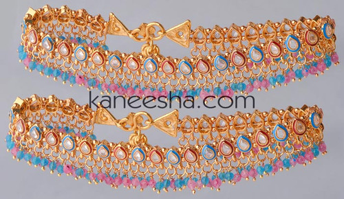 Pink & Turquoise Meenakari Gold Plated Polki Anklets