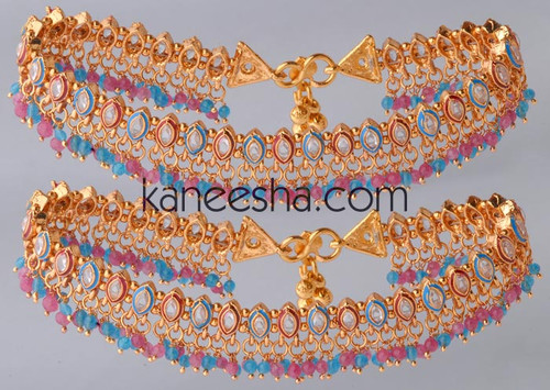 Pink/Turquoise Enameled Gold Plated Polki Anklets