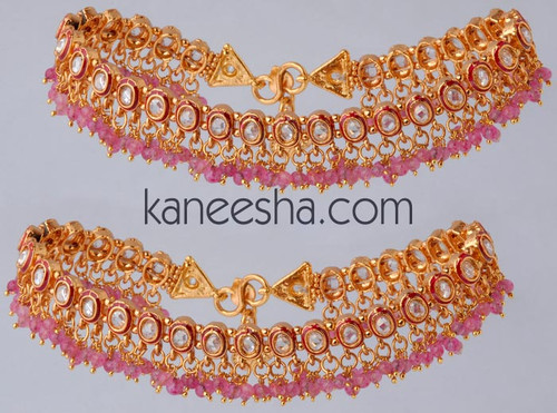 Gold Plated Anklets with Polki Stones