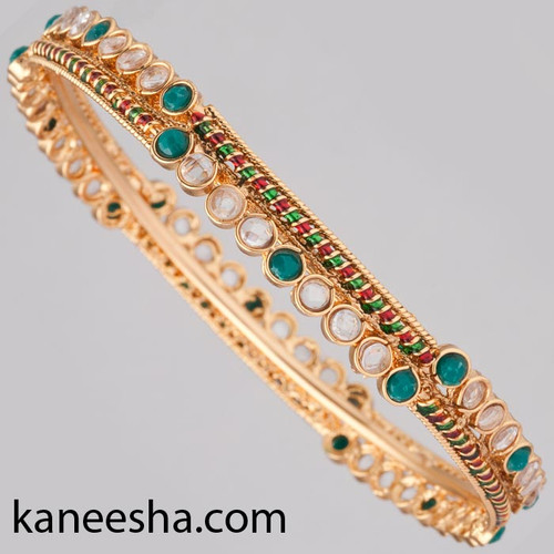 Enemel Polki Traditional Indian Bangle - 60% price reduction