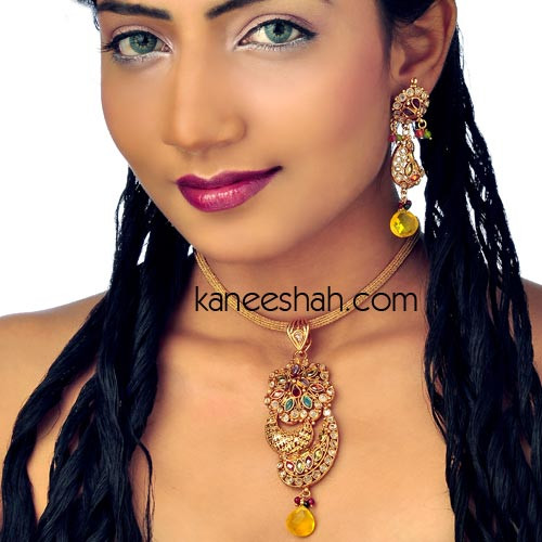 Gold Plated Polki Floral Pendant Set Studded with Topaz and Multicolored Stones