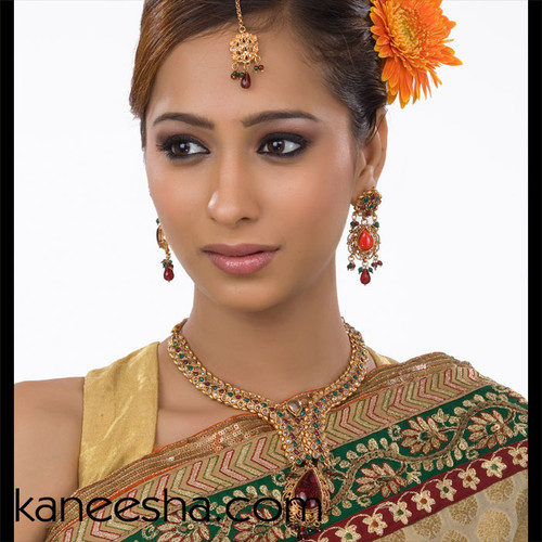 Goldplated Bridal Party Necklace Studded with Multi Color Beads Set