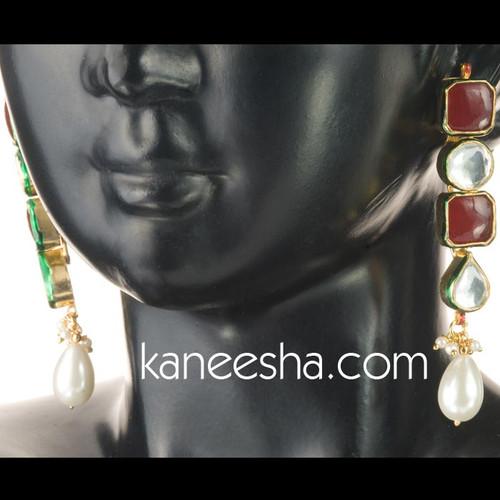 Maroon Kundan Earrings-60% price reduction