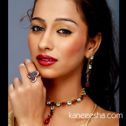 Red Authentic Kundan Necklace Set - 50% price reduction