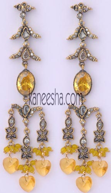 Yellow Victorian Style Earrings - 40% price reduction