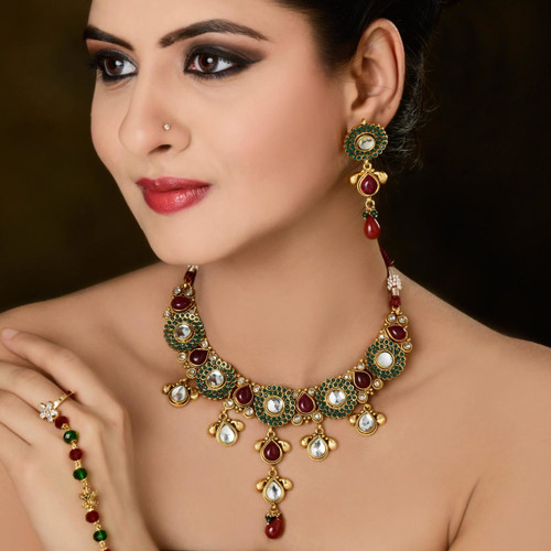 Multi Color Gold Plated Polki Necklace