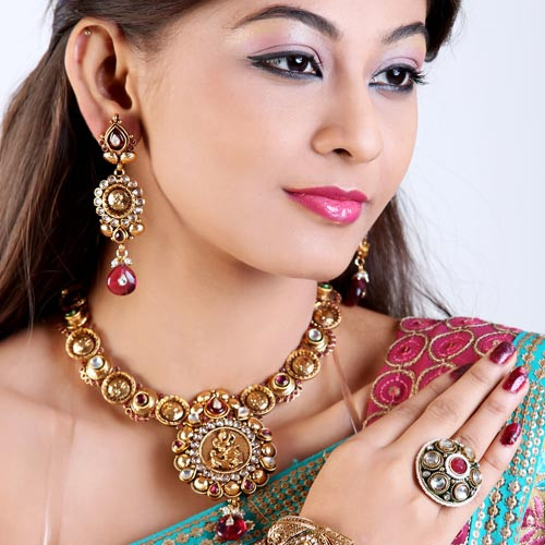 Gold Plated Kolhapuri Style Necklace Set