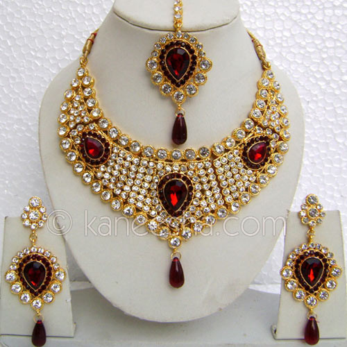 Classic Gold Plated Necklace Set with Red Stones