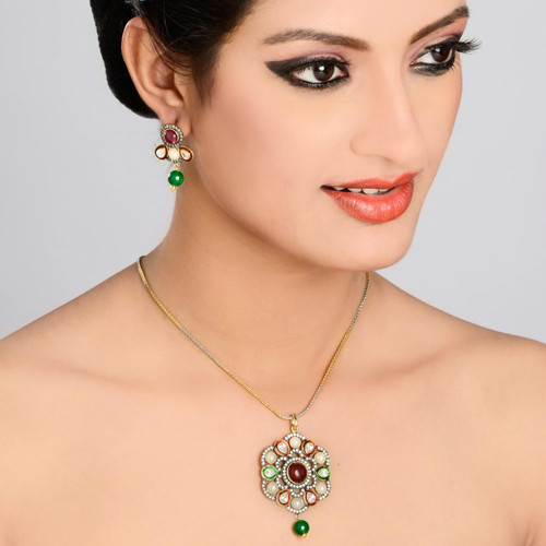 Pearl and American Diamond, Kundan Pendant Set