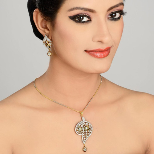 Kundan and American Diamond Studded Pendant Set