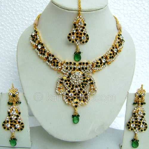 Red/Green AD Gold Plated Necklace Set