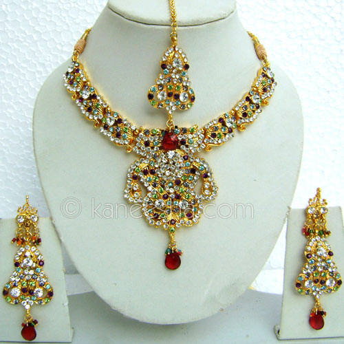 Red American Diamond Necklace Set