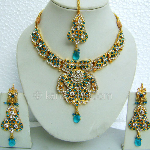 Turquoise CZ Necklace Set