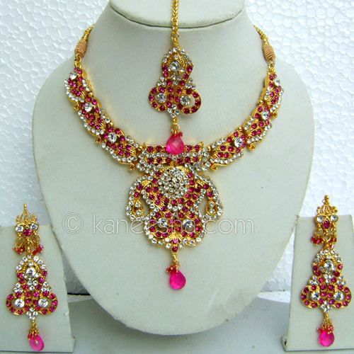 Pink American Diamond Necklace Set