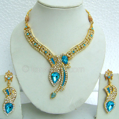 Gold Plated CZ Choker Necklace Set