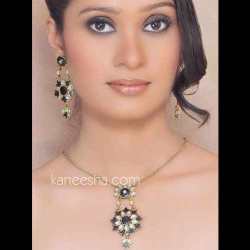 Gold Plated Enameled Pendant Set with Transparent Stones