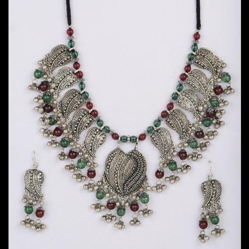 Trendy Oxidized Silver Necklace Set