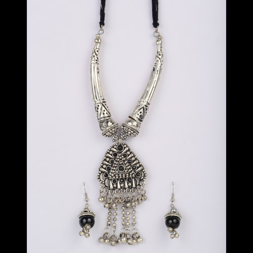 Ethnic Oxidized Silver Necklace Set