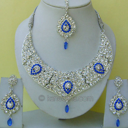 Silver Glinting Indian Necklace Set with Blue Stones