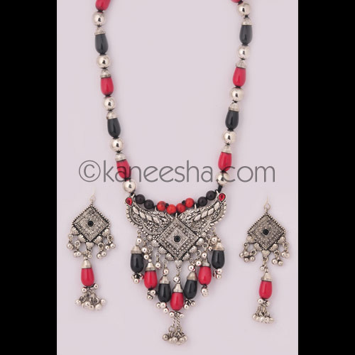 Traditional Oxidized Silver Necklace Set