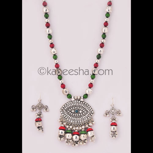 Silver Necklace Set with Green and Red Beads