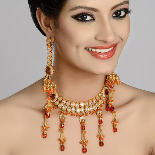 Orange Shade Victorian Neck Piece Set