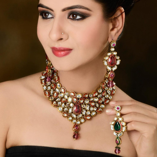 Rani Pink & Green  diamond Studded Necklace