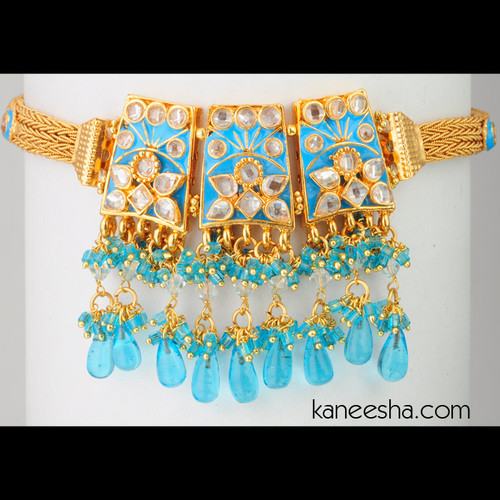Turquoise Gold Plated Enameled Polki Armlet