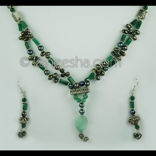 Jade Green Beaded Necklace Set