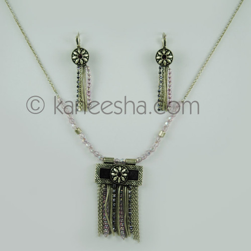 Mauve Beaded Silvertone Necklace Set
